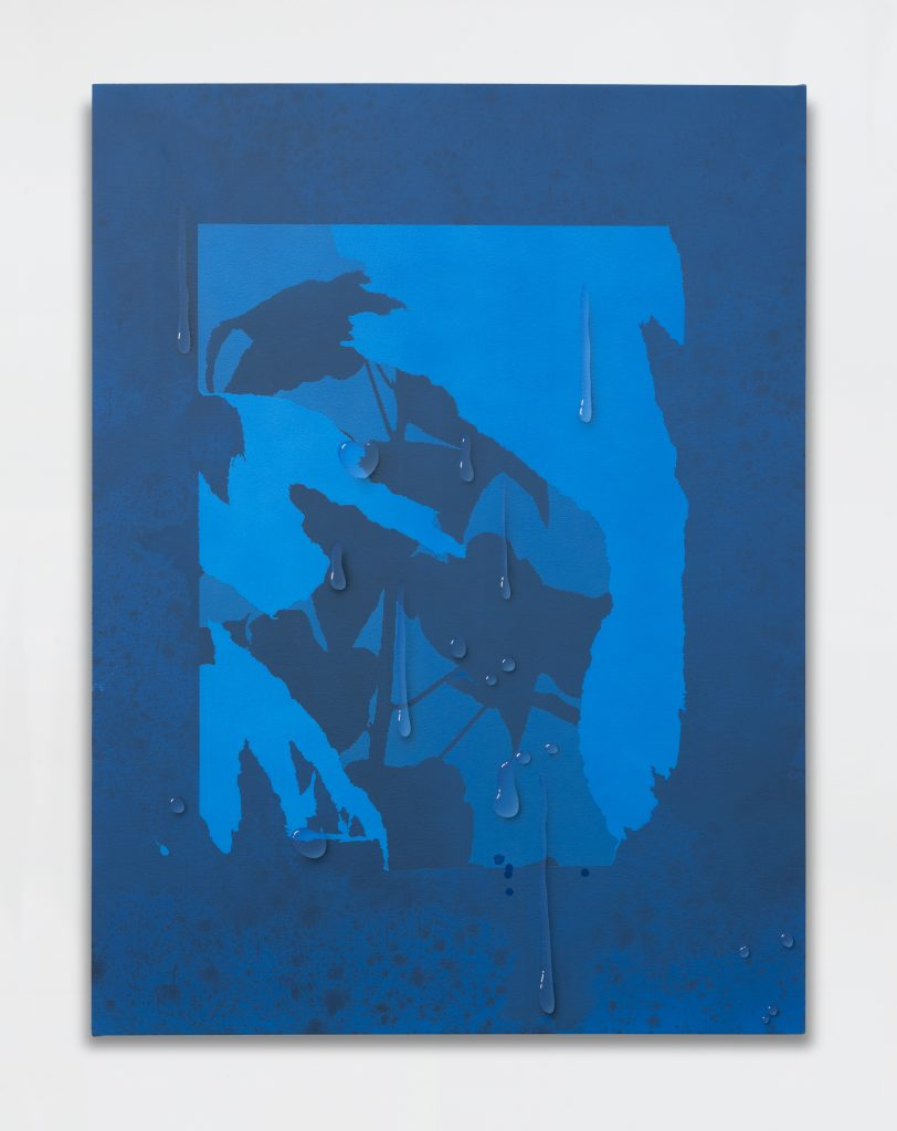 Sayre Gomez Torn Image with Droplet', 2016 Acrylic on canvas 101.6 x 76.2 cm 40 x 30 in. Courtesy of the artist and rodolphe janssen, Brussels.