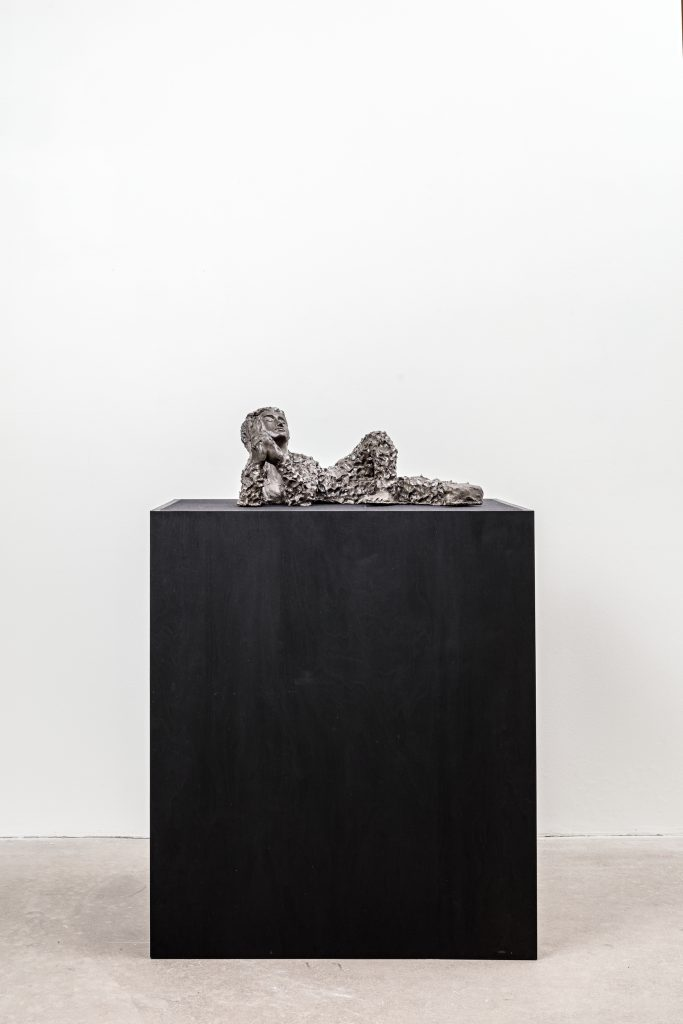 Michaela Meise 'St. Maria Magdalena' 2014 Glazed ceramic and ink / Wooden plinth and fabric 113 x 80 x 60 cm / 44 1/2 x 31 1/2 x 23 2/3 in Courtesy of the artist and STANDARD (OSLO), Oslo Photographer: Vegard Kleven