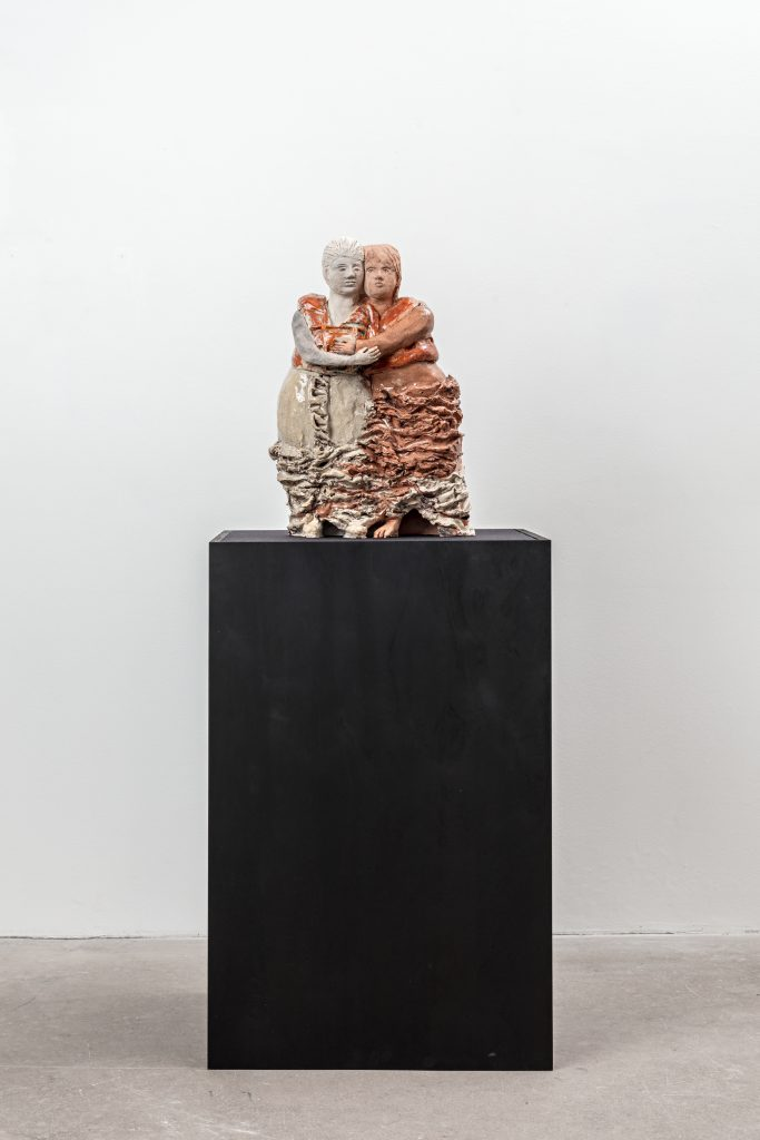 Michaela Meise 'St. Maria Salomé + St. Maria Jacobé' 2016 Glazed ceramic and ink / Wooden plinth and fabric 145 x 55 x 60 cm / 57 x 21 2/3 x 23 2/3 in Courtesy of the artist and STANDARD (OSLO), Oslo Photographer: Vegard Kleven