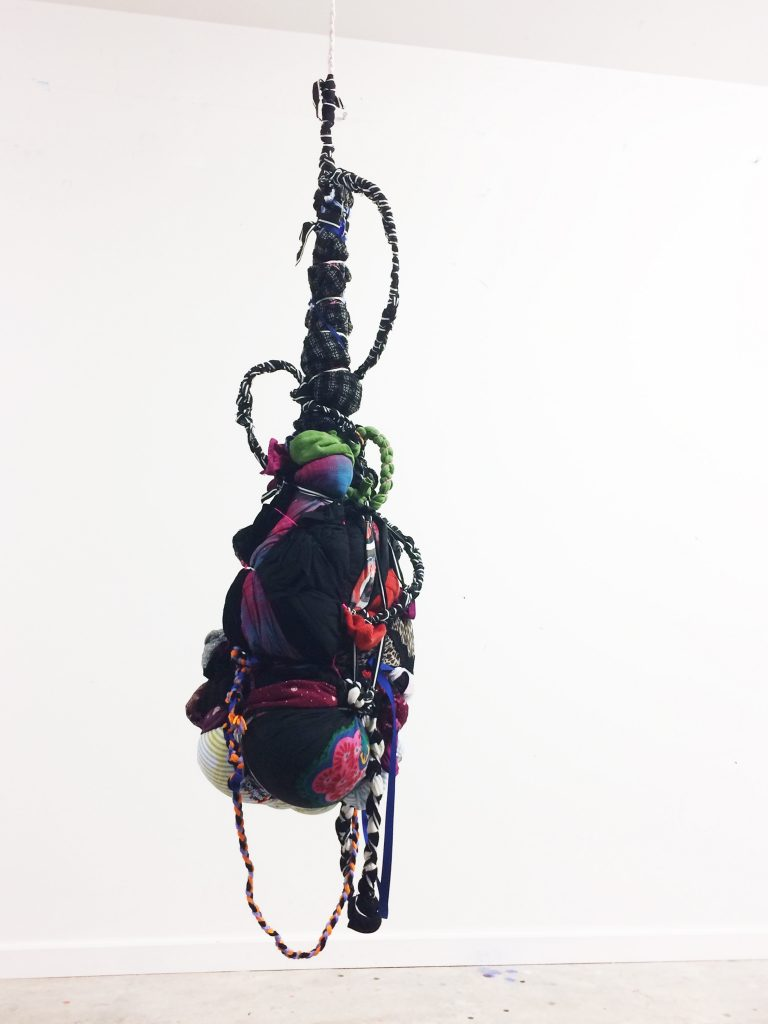 SHINIQUE SMITH 'Ode to Lelanya', 2016 Clothing, fabric, ribbon, rope, pillows, acrylic, copper wire and bamboo, 52 × 14 × 13 in, 132.1 × 35.6 × 33 cm. Courtesy Brand New Gallery.