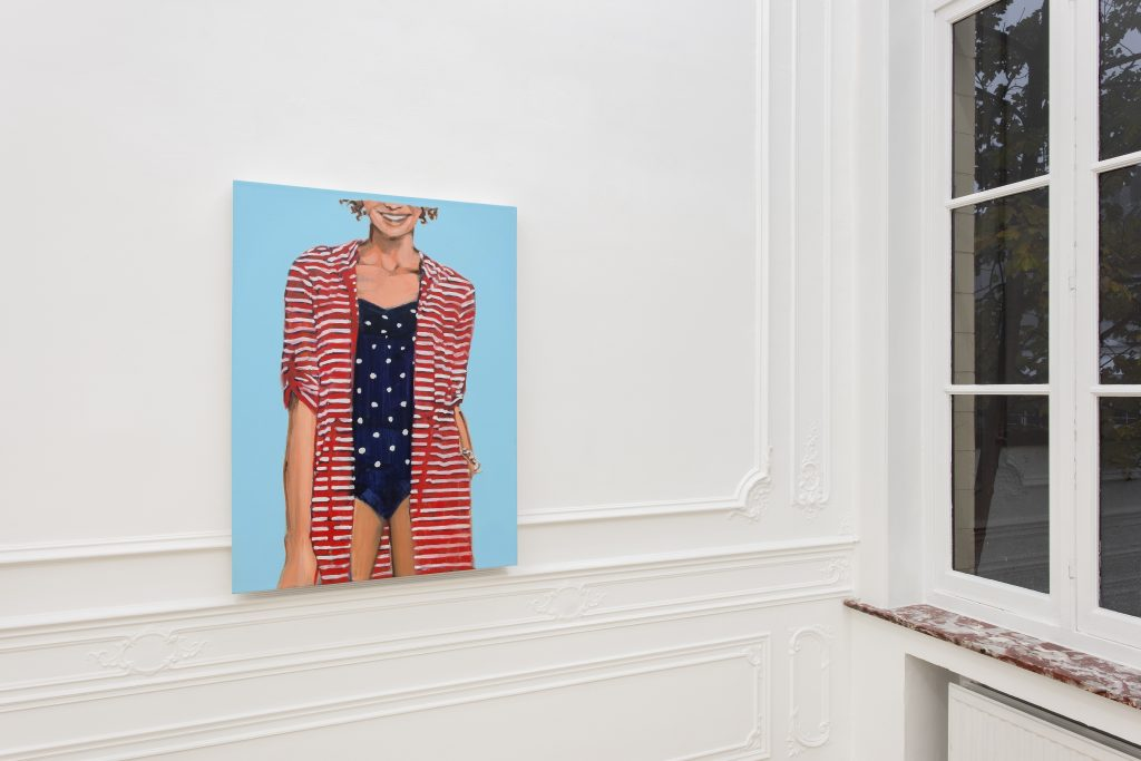 Walter Robinson, 'Womens stripe cotton jersey roll sleeve cover-up', acrylic on canvas 76x102cm, 2014. Hugard & Vanoverschelde Photography © Courtesy Stems Gallery.