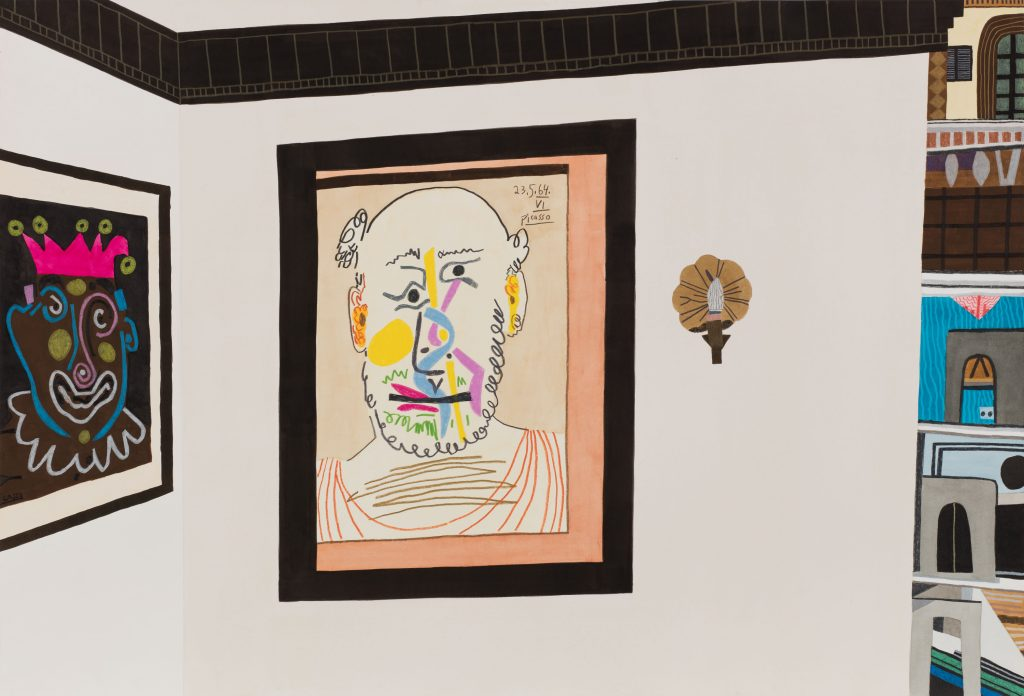 Jonas Wood 'Two Picasso Heads', 2016 Gouache, ink and colored pencil on paper, 28 x 41 1/8 in (71.12 x 104.45 cm) (paper) 33 3/4 x 46 3/4 in (85.72 x 118.75 cm) (framed). Courtesy Anton Kern Gallery.