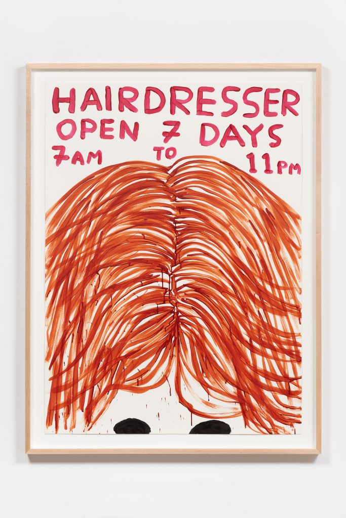 David Shrigley, Untitled (Hairdresser), 2016 Acrylic on paper, 50.2 x 36.4 in (127.5 x 92.5 cm) (paper); 55 7/16 x 41 11/16 in (140.8 x 105.88 cm) (framed). Courtesy Anton Kern Gallery.