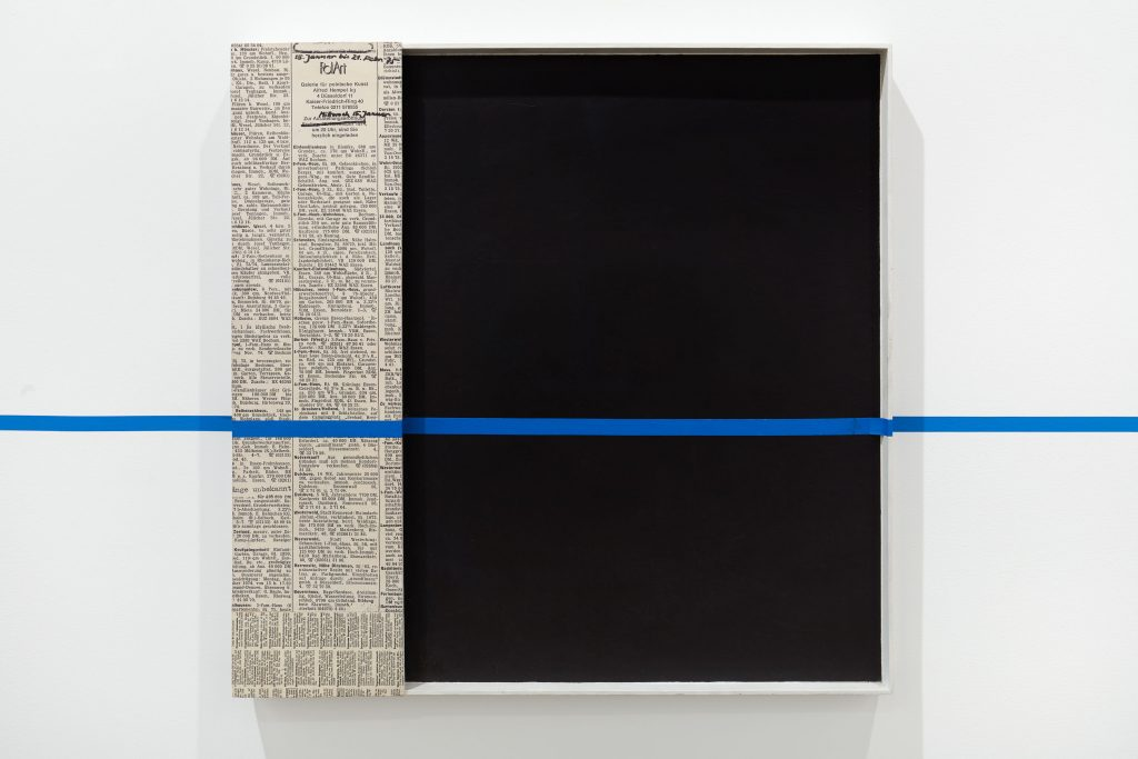 Edward Krasi ski 'Intervention', 1981 Acrylic paint, collage, blue tape on board, 28 1/4 x 28 inches, (71.8 x 71.1 cm).  Courtesy Anton Kern Gallery.