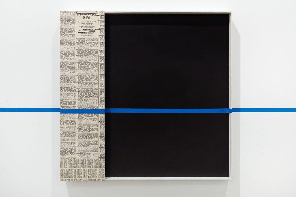 Edward Krasi ski 'Intervention', 1981 Acrylic paint, collage, blue tape on board, 28 1/4 x 28 inches, (71.8 x 71.1 cm).  Courtesy Anton Kern Gallery.