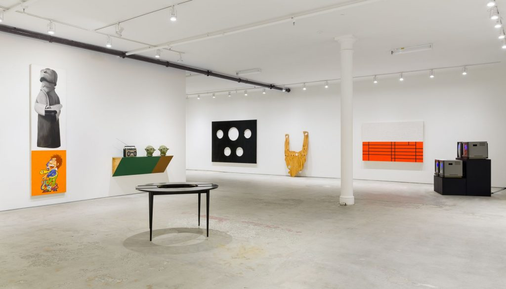 'Every Future Has A Price: 30 Years After Infotainment', installation view, Elizabeth Dee, New York. Courtesy of Elizabeth Dee Gallery.