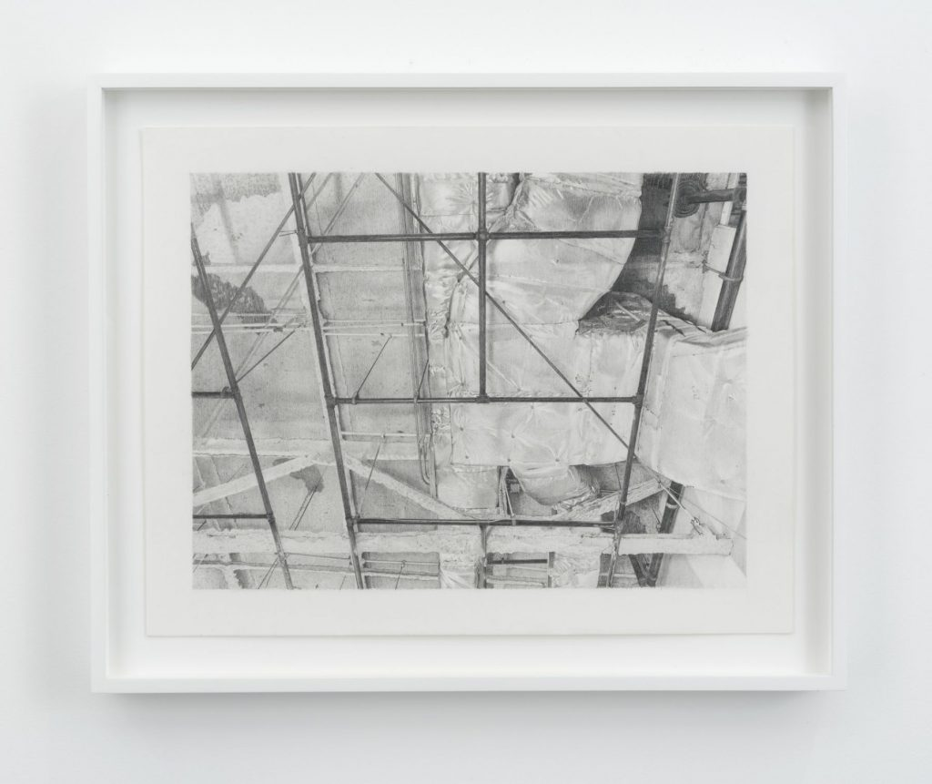 Jacob Kassay 'H-L', 2016 Graphite on paper, 10 7/8 x 14 inches (27.6 x 35.6 cm) 13 1/4 x 16 1/4 inches (33.7 x 41.3 cm) framed. Courtesy the artist and 303 Gallery