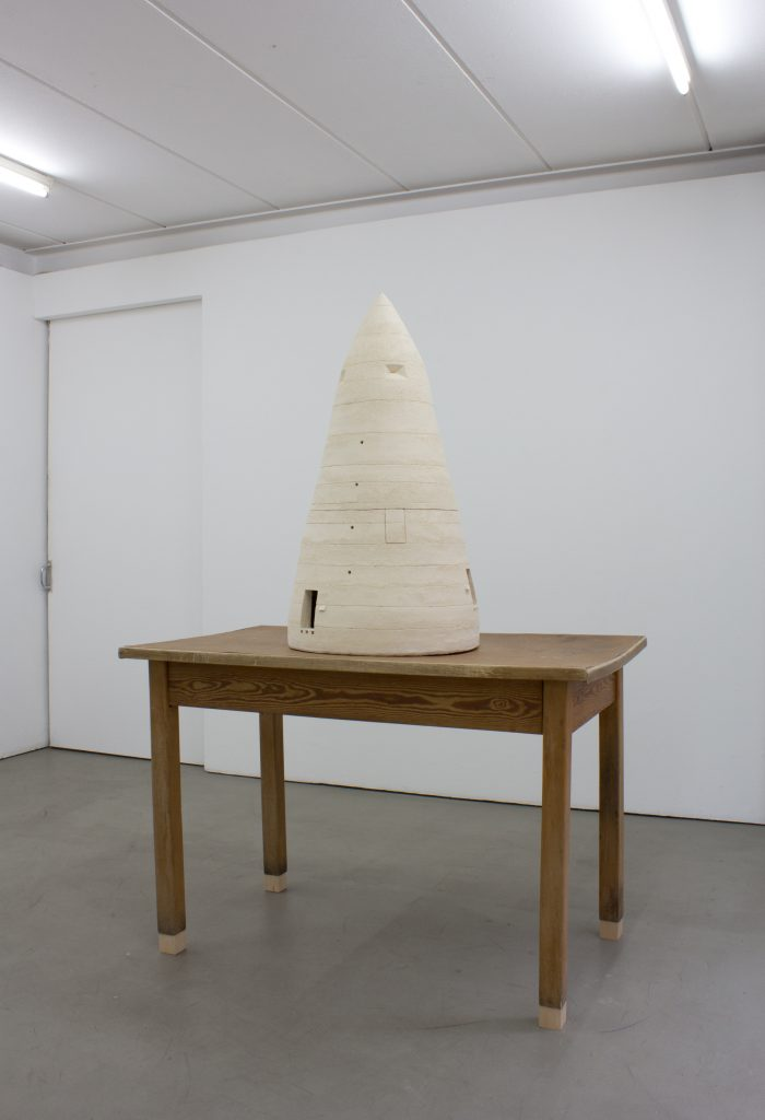 Silke Schatz 'Modell für ein Vogelhaus', 2016 Ceramic and wood, 175 x 60 x 120 cm. Courtesy Meyer Riegger.
