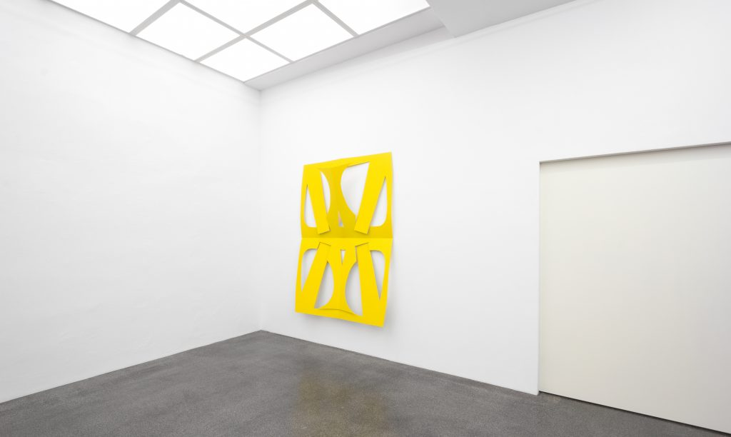 Matt Keegan 'C.Ar.D. Cutout (Large Traffic Yellow)', 2016 powder-coated laser cut steel, 209,6 x 148,6 cm. Courtesy Meyer Riegger.