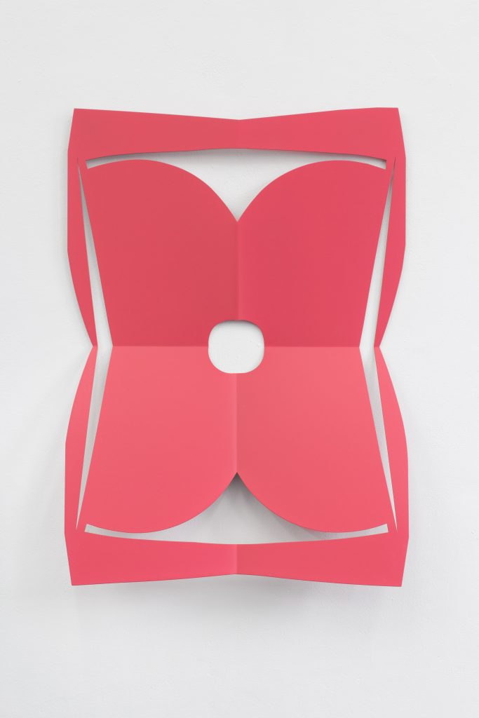 Matt Keegan 'C.Ar.D. Cutout (Rose)', 2016 laser cut steel, 76,2 x 58,4 x 12 cm. Courtesy Meyer Riegger.