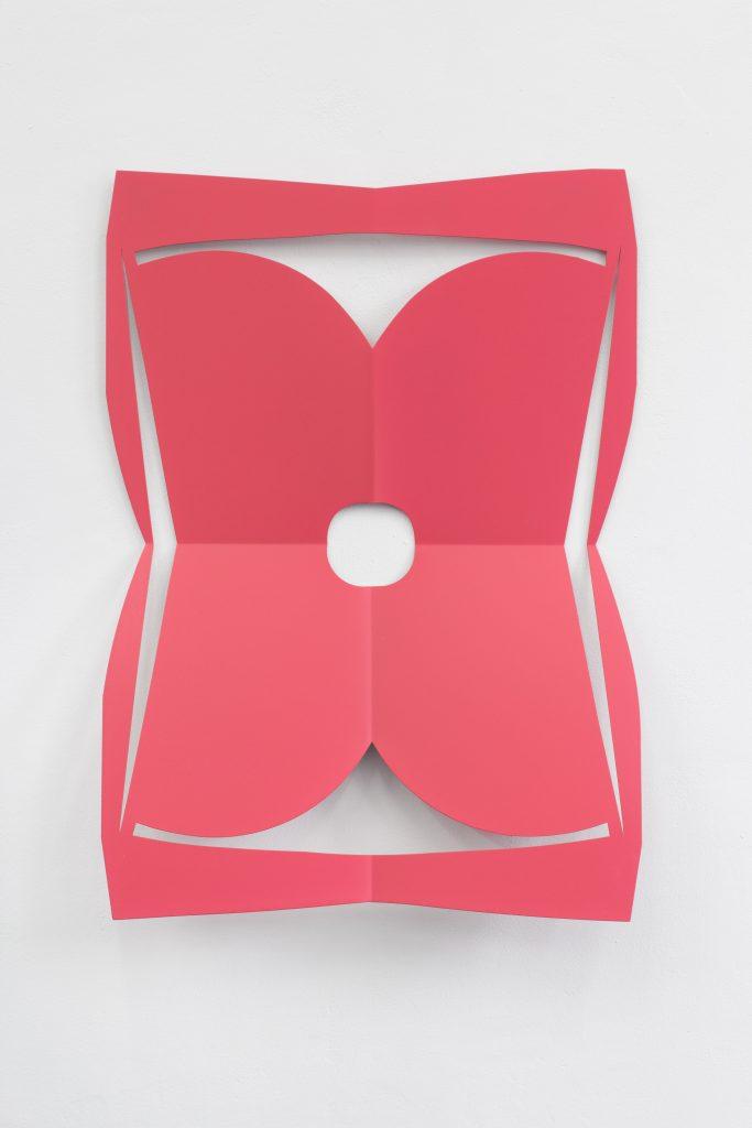 Matt Keegan 'C.Ar.D. Cutout (Rose)', 2016 laser cut steel, 76,2 x 58,4 x 12 cm. Courtesy Meyer Riegger.