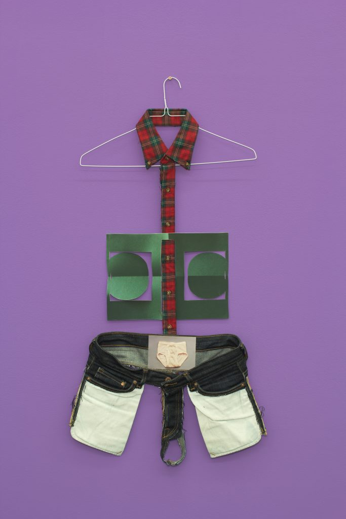 Matt Keegan 'Just My Size (Underwear)', 2016 artist's clothes, wire hanger, powder-coated screw, inkjet print, mounted oil painting, 98 x 45 x 2 cm. Courtesy Meyer Riegger.