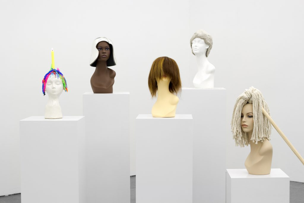 Jamie Isenstein 'Vanity Vanitas' (Ed. 1/2), 2016 group of five wigs, dimensions variable. Courtesy Meyer Riegger.