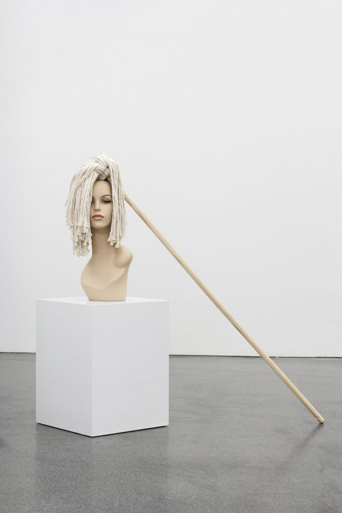 Jamie Isenstein 'Mop wig' (Ed. 2/2), 2016 cotton and wood mop worn by fiberglass mannequin, 58 x 22 x 17 cm. Courtesy Meyer Riegger.