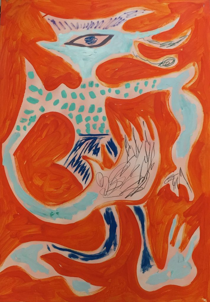 Charlie Roberts, Juicy 090, 2016. Mixed Media on Paper, 59 x 84 cm. Courtesy of the artist and Marlborough Contemporary.